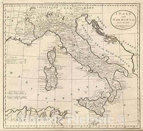 Historic Map - 1811 Italy, and Sardinia. - Vintage Wall Art - 36in x 32in