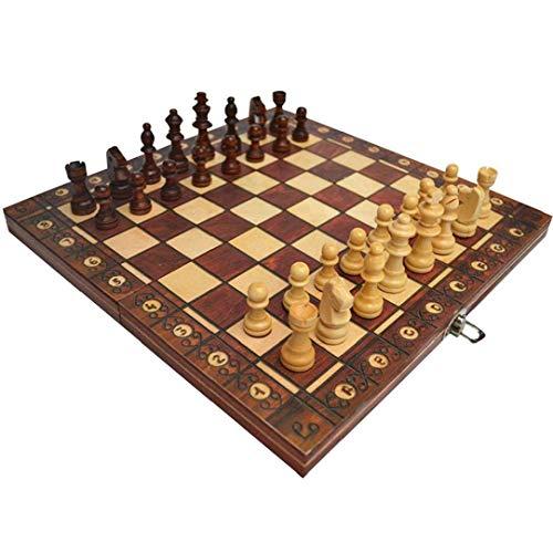 Odoukey Juego de ajedrez de 3 en 1 Placa magnética Plegable Ajedrez Ajedrez Juego de Mesa Plegable de Madera de ajedrez de Brown Junta Set 34 * 34cm