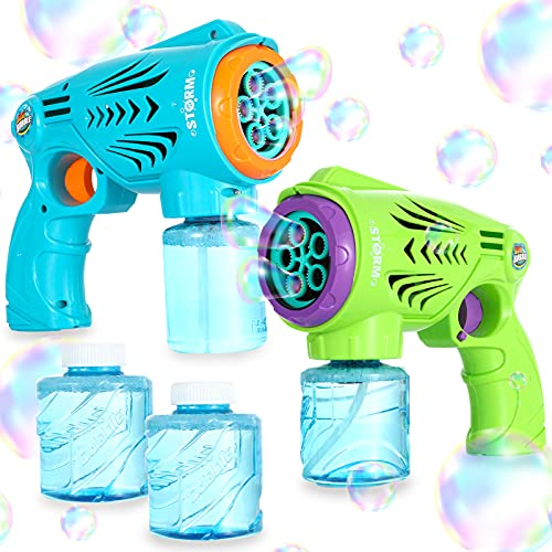 2 Bubble Gun for Toddlers with Bubble Solution, Bubble Blaster Toy Guns Blowing Bubbles for Kids, Bubble Machine for Toddlers, Bubble Blower & Bubble Refill, Kids Outdoor Toys, Summer Toys