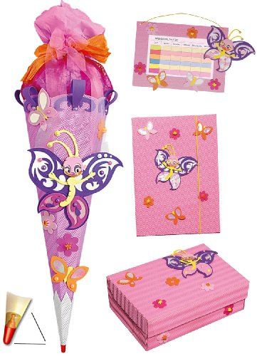alles-meine.de GmbH 4 TLG. Set: Bastelset Schultüte - 85 cm + Schulbox / Kreativbox + Mappe + Stundenplan - Schmetterling Blumen Mädchen - Zuckertüte Roth Schule Basteln Malbox f..