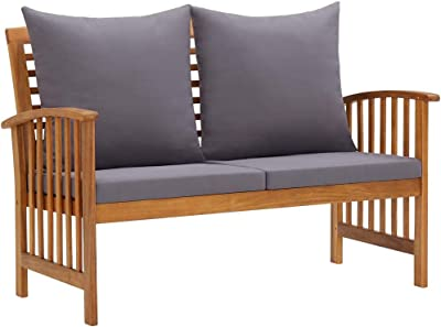 vidaXL Solid Acacia Wood Garden Bench with Cushions Wooden Durable Stable Outdoor Patio Balcony Yard Seat Seating Sitting Park Armchair Furniture