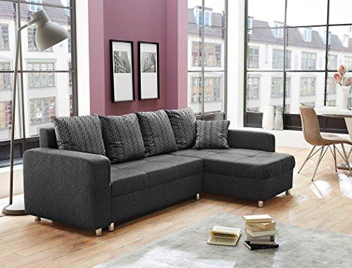 expendio Wohnlandschaft Lyrion 235x154 cm anthrazit Funktionssofa Eckcouch Polsterecke Bettkasten Couch Sofa Wohnzimmer