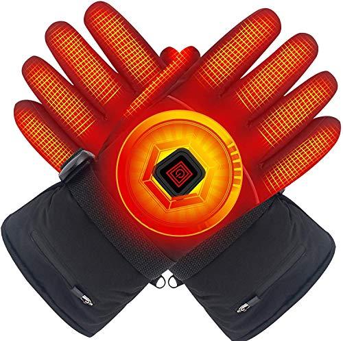 Svpro Winter elektrische beheizte Handschuhe mit Lithium-Ionen-Akku, Wasserdichte isolierte Heizhandschuhe, thermische Arthritische Handschuhe für Männer und Frauen, Schwarz - L