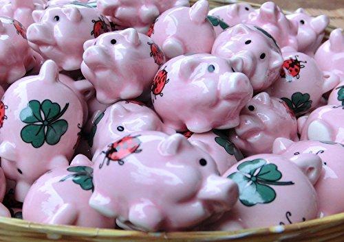iapyx® 60 Stück Glücksschweinchen Glücksbringer aus Porzellan Glücksklee Glückskäfer Marienkäfer Weihnachtsdeko Christbaumschmuck Silvesterdeko Neujahr Hochzeit Jubiläum Give Away