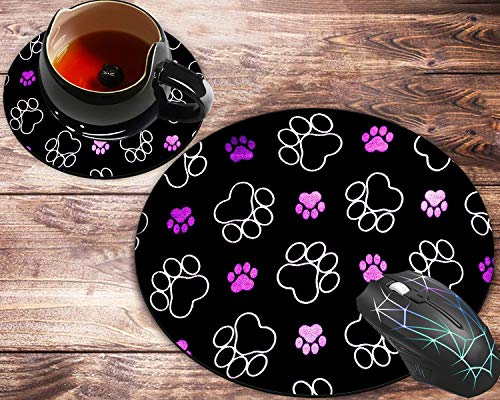Round Mouse Pad and Coaster Set, Purple Paws Dog Mousepad, Non-Slip Rubber Base Gaming Mouse Pads for Working Or Game