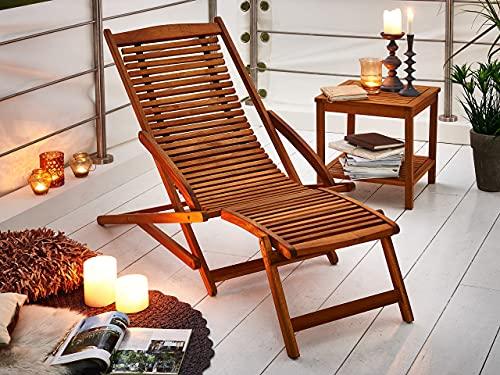 SAM Akazie Holz Deckchair Fuki, Sonnen- Liege-Stuhl, klappbar, für Balkon, Terasse und Garten