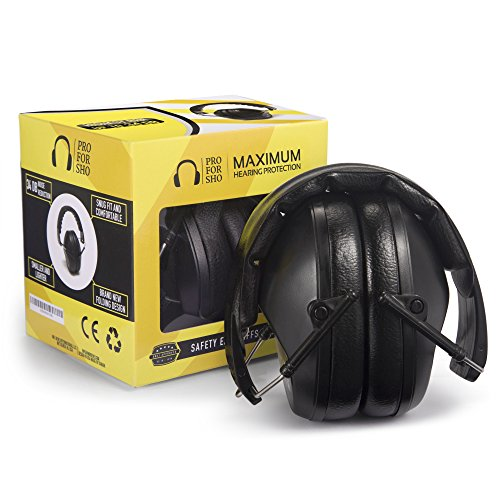 Pro For Sho 34dB NRR Safety Ear Protection - Special Designed Ear Muffs Lighter Weight & Maximum Hearing Protection - Standard Size, Black