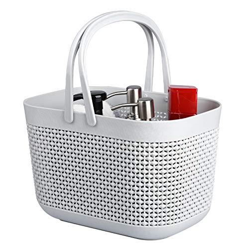 UUJOLY Plastic Organizer Storage Baskets with Handles Shower Caddy Bins Organizer for Bathroom and Kitchen Grey