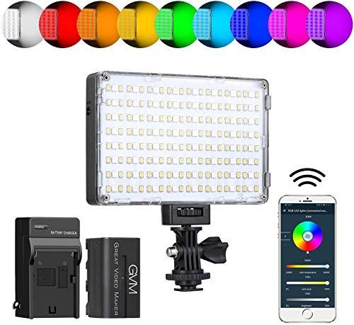 GVM LED Kamera Videoleuchte mit Batterie,RGB Dimmbare Videolihct APP Steuerung CRI97 3200K-5600K DSLR Kamera Licht für YouTube On Camera Light,LED Fotolicht