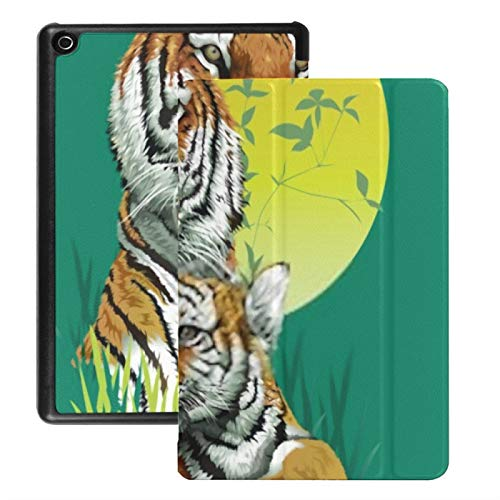 Case For Fire Hd 8 Tablet (2018/2017/2016 Release), Tiger Family Jungle Vector Illustration Case Cover With Auto Wake/sleep