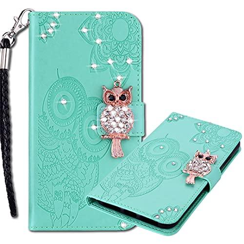 MRSTER Funda Xiaomi Redmi Note 9 con Tapa, Xiaomi Redmi Note 9 Funda de PU Cuero Cartera, Floral de Búho de Diamante Cristal Strass Carcasa para Xiaomi Redmi Note 9. Owl Green