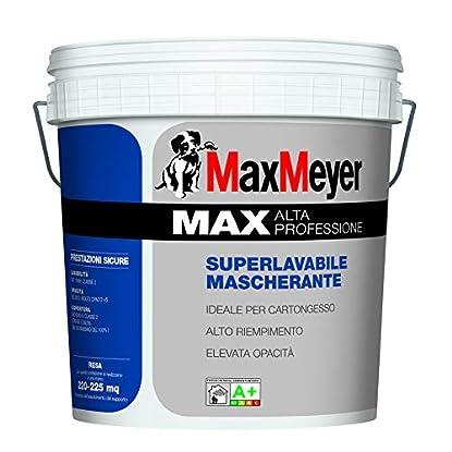 """Foto di Pittura lavabile MAX A+ alta professione""""Nuova Formula 2019"""" idropittura mascherante professionale bianca al alto potere riempitivo 14 lt. Max Meyer"""