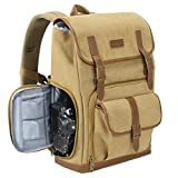 Endurax Canvas Camera Backpack for DSLR Photography Backpack with Quick Access Dual Compartments Fit SLR Cameras 3-5 Lenses and 14' Laptop Khaiki