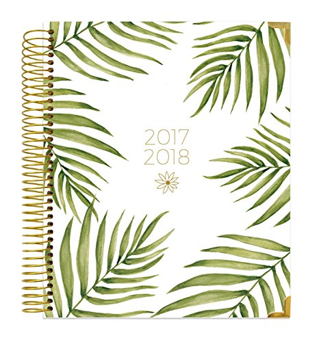 "bloom daily planners 2017-18 Academic Year Hard Cover Vision Planner - Monthly and Weekly Column View Planner - (August 2017 - July 2018) Palm Leaves - 7.5"" x 9"""