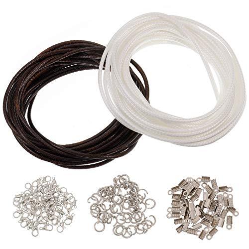 Veraing Lederband Ohne Anhänger Lederband Kette mit Karabinerverschluss für DIY Schmuck Halskette Leder Basteln Schmuckherstellung