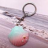 N/ A Shell Keychain In Glitter Resin Für Mädchen Conch Keychain Ringe Damenaccessoires Geschenkschmuck