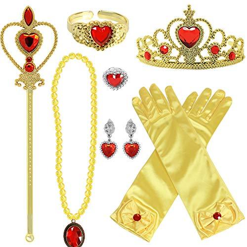 Tacobear Prinzessin Kostüm Zubehör Set Prinzessin Krone Zauberstab Handschuhe Ohrring Halskette Armband Ring Prinzessin Schmuck für Kinder Mädchen (Gelb-Prinzessin Belle)