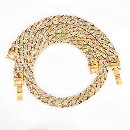 Rapper Hip Hop - Collar de eslabones cubanos con diamantes de imitación pavimentados de 15 mm, cadena de eslabones para hombre y mujer