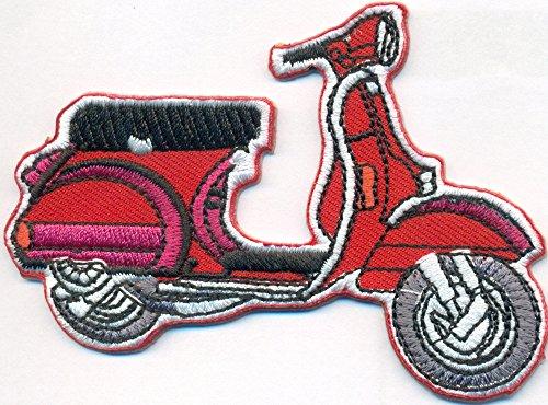 Rote Old School Vespa Roller Vintage Motorrad Piaggio Motorcycle Biker Patch Aufnäher