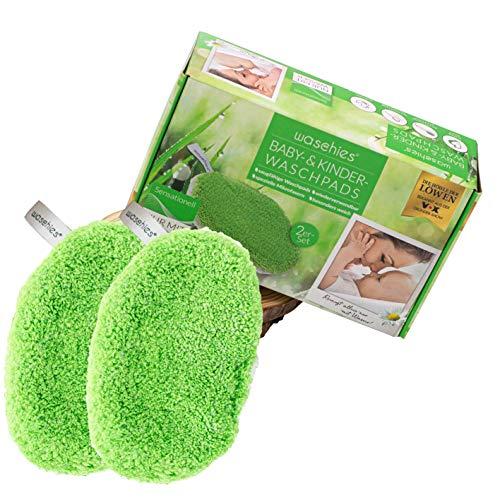 waschies® KIDS 2er Set Waschpads für Babys und Kinder | Waschlappen aus feinstem Fasermix - Mikrofaser und Viskose - schonende und gründliche Reinigung | Umweltfreundlich und nachhaltig nur mit Wasser