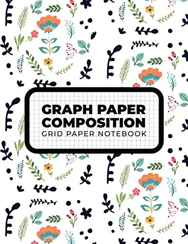 Funny Graph Paper Notebook For Flower Lovers Collection, 5x5 Grid Paper Notebook, Quad Ruled, 100 Sheets 8.5x11