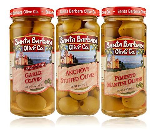 Santa Barbara Olive Co | Premium Individually Hand Stuffed | VARIETY PACK COMBO | 3 Pack (5 oz jars) (Martini Pimento, Anchovy and Garlic)
