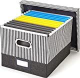 Decorative File Storage Organizer Box - Collapsible Home & Office Filling System for Documents and File Folders Organization by Trizo