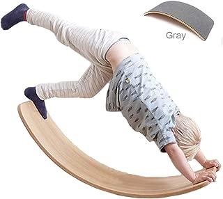 Wooden Wobble Balance Board with Felt Layer Waldorf Toys Balance Board Kid Yoga Board Curvy Board - Wooden Rocker Board 35 Inch Kid Size Dark Gray