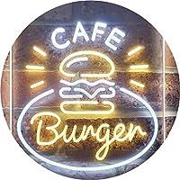 Burger Café Fast Food Shop Dual Color LED看板 ネオンプレート サイン 標識 白色 + 黄色 210 x 300mm st6s23-i3218-wy