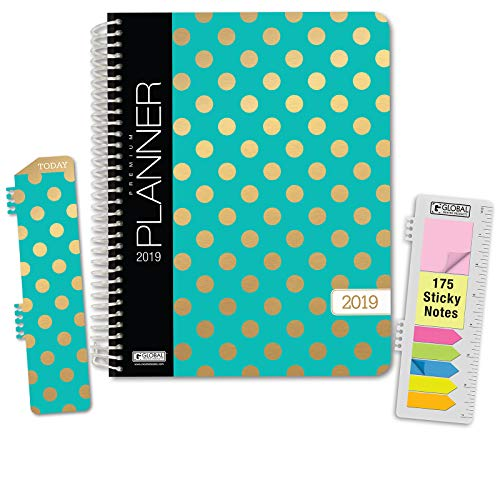 """HARDCOVER Calendar Year 2019 Planner: (November 2018 Through December 2019) 8.5""""x11"""" Daily Weekly Monthly Planner Yearly Agenda. BONUS Bookmark, Pocket Folder and Sticky Note Set (Gold Dots Turquoise)"""