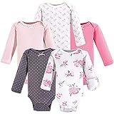 Hudson Baby Unisex Baby Cotton Preemie Bodysuits, Basic Pink Floral Long-Sleeve