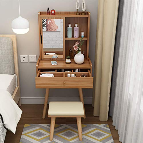 N/Z Living Equipment Vanity Set with Mirror 3 Colors Makeup Dressing Table with Drawers And Storage Shelves Vanity Table with Soft Cushioned Stool And Solid Wood Legs 60x40x127cm