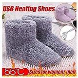 usb heat electric foot warmer boots - winter plush faux fur warming interface hiding washable