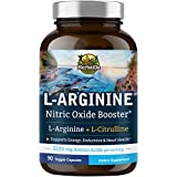 Herbzilla L-Arginine 2220 mg, Arginine AAKG, HCl & Citrulline, Nitric Oxide Booster, Energy, Muscle Building, Vascularity & Heart Health, with Beet Root & Panax Ginseng, Non-GMO, 90 Veggie Capsules