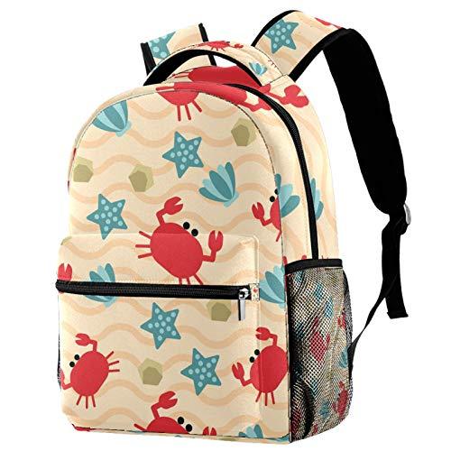 Mochila de cangrejo rojo azul estrellas de mar patrón de conchas mochila de viaje casual mochila para mujeres adolescentes niñas niños