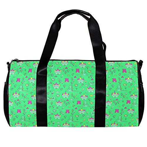 Sports Bag for Men and Women Gym Fitness and Travel Overnight Package Barrel Duffel Bag 恐竜 グリーン かわいい