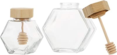 WINOMO ハニーポット 蜂蜜 はちみつ 容器 蜂蜜ボトル はちみつ容器 耐熱ガラス 透明 蓋付き 100ml+220ml 家庭用 キッチン用 2pcs
