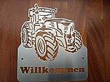 Gartendeko Fockbek Türschild Klingelschild Namenschild Edelstahl Trecker 5 Traktor Landwirtschaft Willkommen