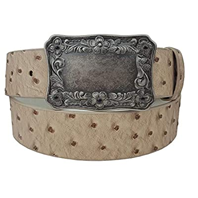 Western Ostrich Print Belt with Plaque Buckle BEIGE S/M