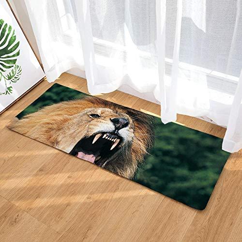 Geen tapijt voor de keuken, wasbaar, flanelstof, leeuw, groen, bos, keuken, entree, lang, voor binnen en buiten, antislip.