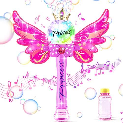 HAPPARA Seifenblasenmaschine, Zauberstabblasenmaschine mit 1 Flaschen Seifenwasser, geeignet für Jungen und Mädchen, Geschenke für Kinder auf Partys, Gartenpartys im Freien