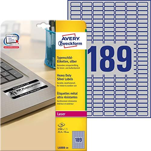 AVERY Zweckform L6008-20 Typenschild Folienetiketten (25,4x10 mm auf DIN A4, extrem stark selbstklebend, wetterfeste bedruckbare Klebefolie) 3.780 Aufkleber auf 20 Blatt silber
