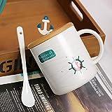 YXYLQ Navigazione Creativa Tazza in Ceramica Ins Semplice Tazza da caffè con Coperchio Cucchiaio 350 Ml Colazione Domestica Tazze da Latte Bambini Che Bevono Tazze-C