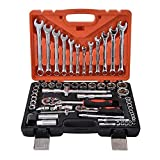 LQUIDE Hand Tools 61 pcs/Set Socket Wrench Set Spanner Car Ship Machine Repair Service Tools Kit with Heavy Duty Ratchet