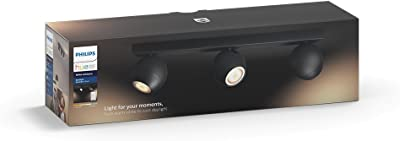 Philips Hue White Ambiance BUCKRAM Spot barre tube 3x5.5W - Noir (télécommande incluse)