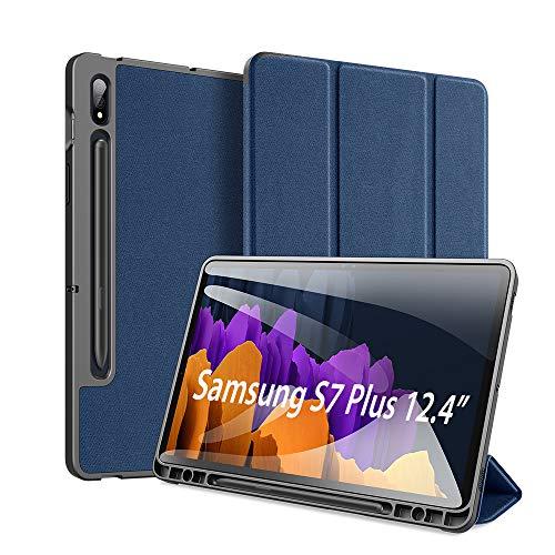 DUX DUCIS Hülle für Samsung Galaxy Tab S7 Plus 12.4 inch 2020, ltra Slim Cover Schutzhülle TPU Ultra Leightweight Flip Hülle mit S Pen Halter, für Samsung Galaxy Tab S7 Plus T970/T975/T976, Blau