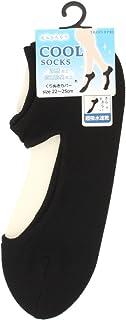 涼感加工 フットカバー 脱げないリング付き くり抜き 超吸水速乾 (ブラック) パンプスカバー レディース