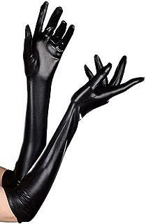 Luwint Women's Sexy Elastic Shiny Wet Look Satin Long Gloves