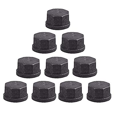 10 Pack 3/4 inch Malleable Cast Iron Pipe Cap, GOOVI DIY Retro Furniture Threaded Pipes and Fittings