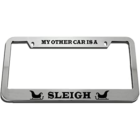 Speedy Pros Protected by Dragons Zinc Metal License Plate Frame Car Auto Tag Holder Chrome 4 Holes